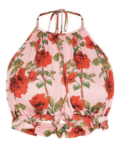 Pretty Little Thing Size 8 To 12 Rose Print Floral Halter Neck Crop Summer Top by Pretty Little Thing Plt