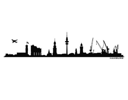 Wanndtattoo Skyline Hamburg Wohnzimmer Schlafzimmer Flur Elbphilharmonie uss050