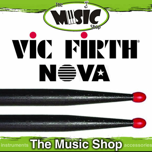 12 Pairs of Vic Firth Nova 5A Drumsticks with Red Nylon Tip - Black Drum Sticks