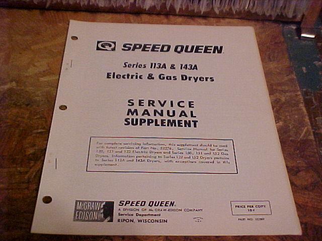 Speed Queen Dryer Service Manual Supplement 113a  U0026 143a