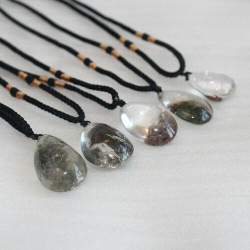 5Pcs Natural Ghost Phantom Stone Quartz Pendant Crystal Necklace Chakra Healing
