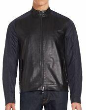 New W/Out Tags Michael Kors Men's Dk Blue Leather Body Nylon Sleeve Jacket US XL