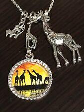 "African Giraffe Connect Safari Sunset Charm Tibetan Silver 18"" Necklace Mix C"