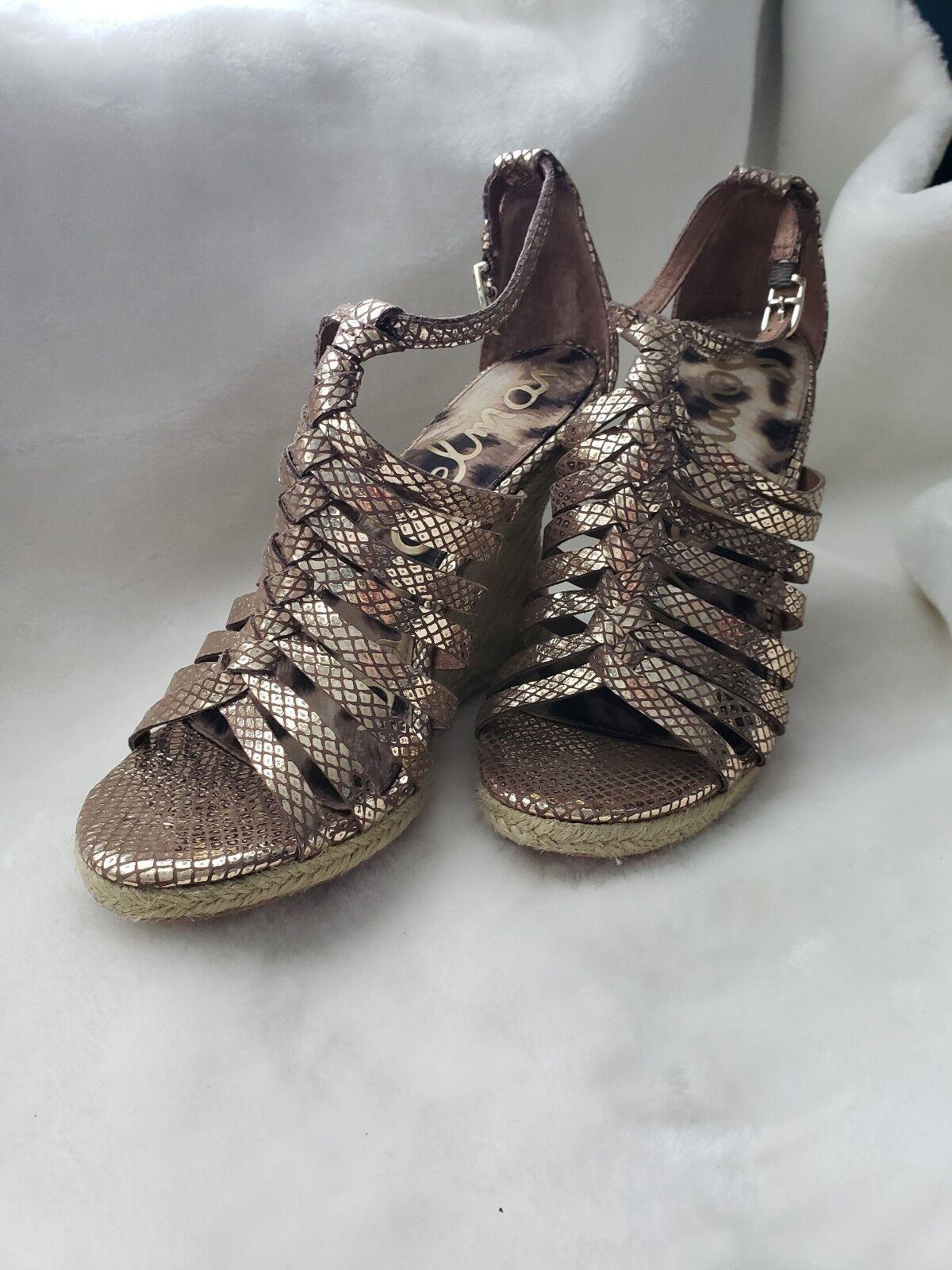 NWOB Sam Edelman Egyptian gold Sandal Wedges Size US 8.5