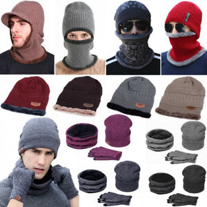 Winter Beanie Hat Scarf Set Fleece Warm Balaclava Snow Ski Cap Men ... d0973de2711