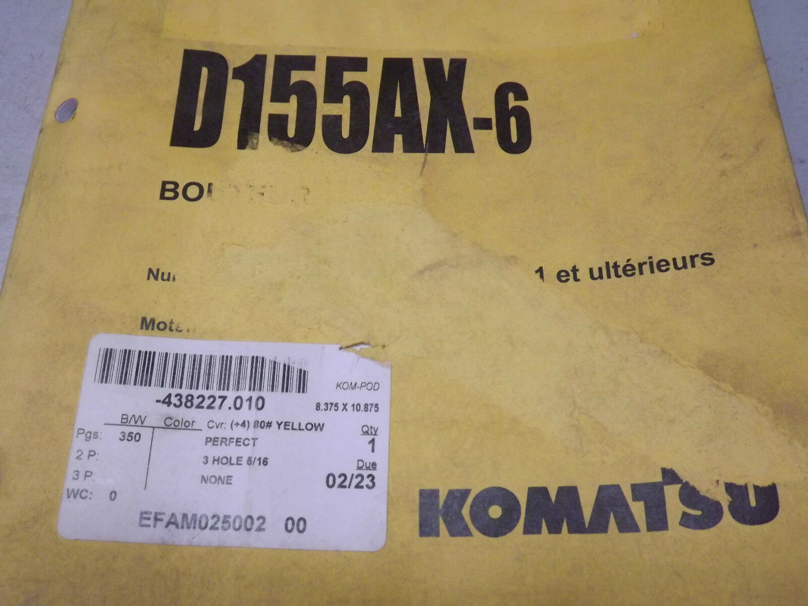 Komatsu D155ax-6 Crawler Dozer Operation Maintenance Manual French Bouteur  | eBay