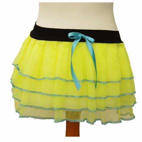 NEON TUTU SKIRT 80/'S FANCY DRESS PINK YELLOW CHIFFON UK SELLER BOW PARTY LACE
