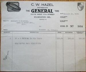 Wilmington-DE-039-General-Tire-039-8-1929-Letterhead-Billhead-Delaware-Del