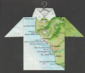 Origami-Map-Shirt-Makaha-Hawai-039-i-Wai-039-anae-Ma-039-ili-Mauna-Lahilahi-Beach-Park