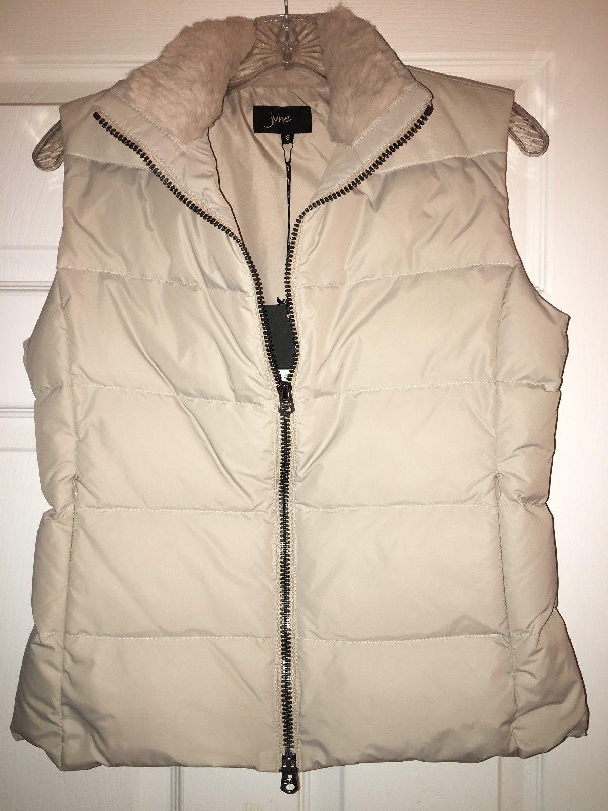 June Women's Down Beige Vest Rabbit Fur Leather Size XS XS XS 21f34f