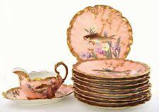 11 Piece Antique Limoges Porcelain Hand Painted Fish Serving Plate Gravy Boat Sg
