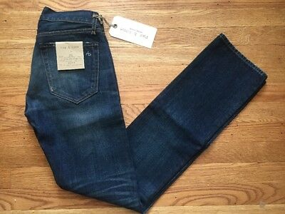 Rag /& Bone RB15X Hackney Slim Straight Leg Jeans Medium Wash 100 Cotton Sz 28-32
