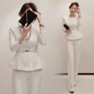 8fa97af3d20ff Tailleur completo donna bianco nero giacca a manica lunga e ...