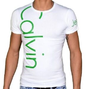 Image is loading T-SHIRT-CALVIN-KLEIN-CMP13S-WHITE-WRITING-GREEN 703e0d64afcd
