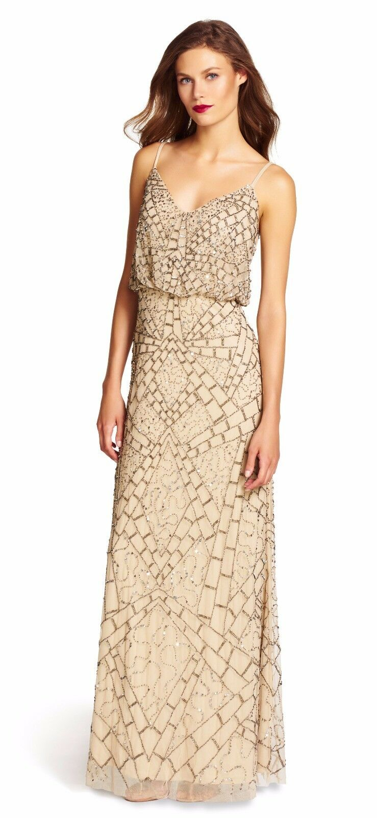 Adrianna Papell Nude Beige Sleeveless Beaded Blouson Gown - NWT Size 14