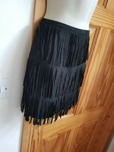 New Fast Post Topshop Size 14 Black Suede Fringed Mini Skirt Dress Up Or Casual