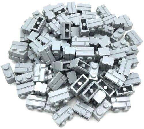 Lego 100 New Light Bluish Gray Bricks Modified 1 x 2 with Masonry Profile Pieces