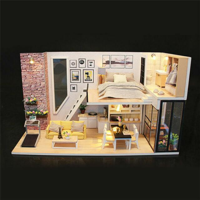 Diy Loft Apartments Dollhouse Wooden Furniture Led Kit