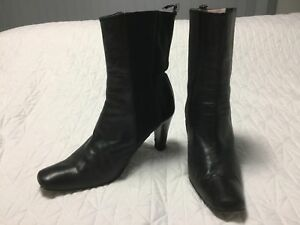 560c614bef37 Image is loading Midas-Black-Leather-Boots-Size-38-5
