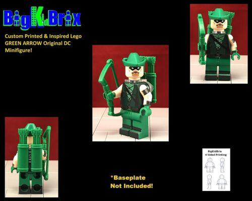 GREEN ARROW Original Custom Printed /& Inspired Lego DC Minifigure w//custom gear