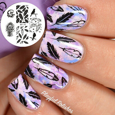 Nail Art Stamp Template Image Plate Dragon Feather BORN PRETTY BP75