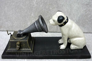 HMV-Advertising-Figure-Nipper-And-Gramophone-Repro-Cast-Iron-His-Master-039-s-Voice