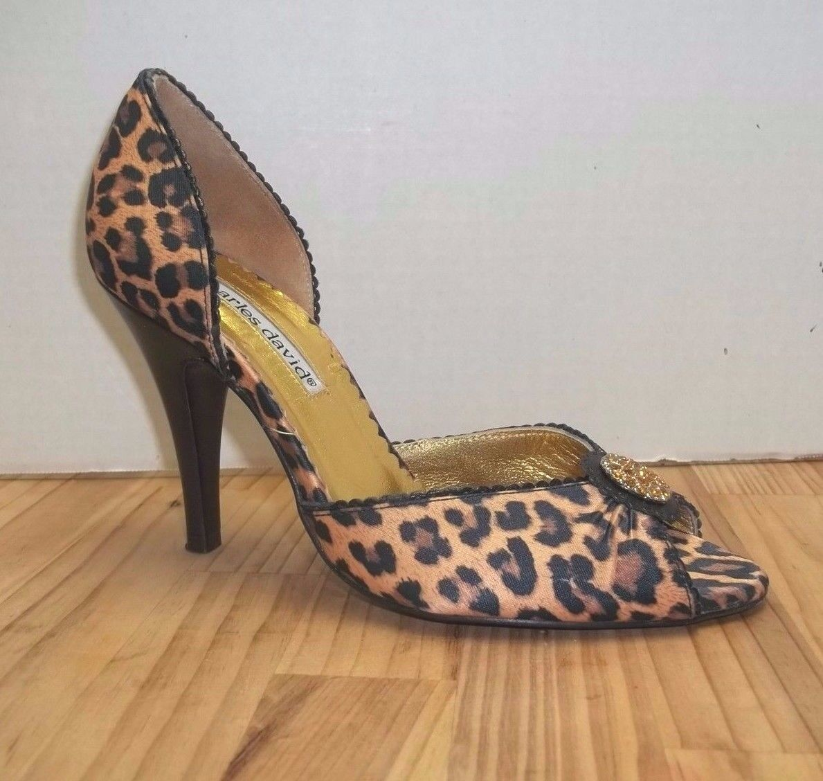 Charles David Leopard Heels Jeweled Jeweled Jeweled Open Toe 3 3 4 Inch Heel Sz 5 1 2 Gorgeous 4a5be2