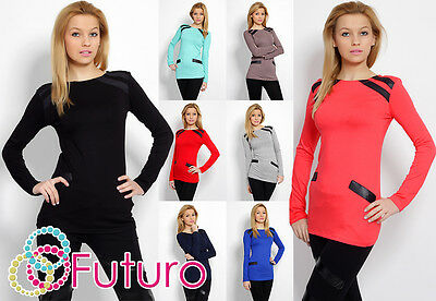 Stylish Women's Top Blouse Eco Leather Crew Neck Tunic Size 8-18 8083