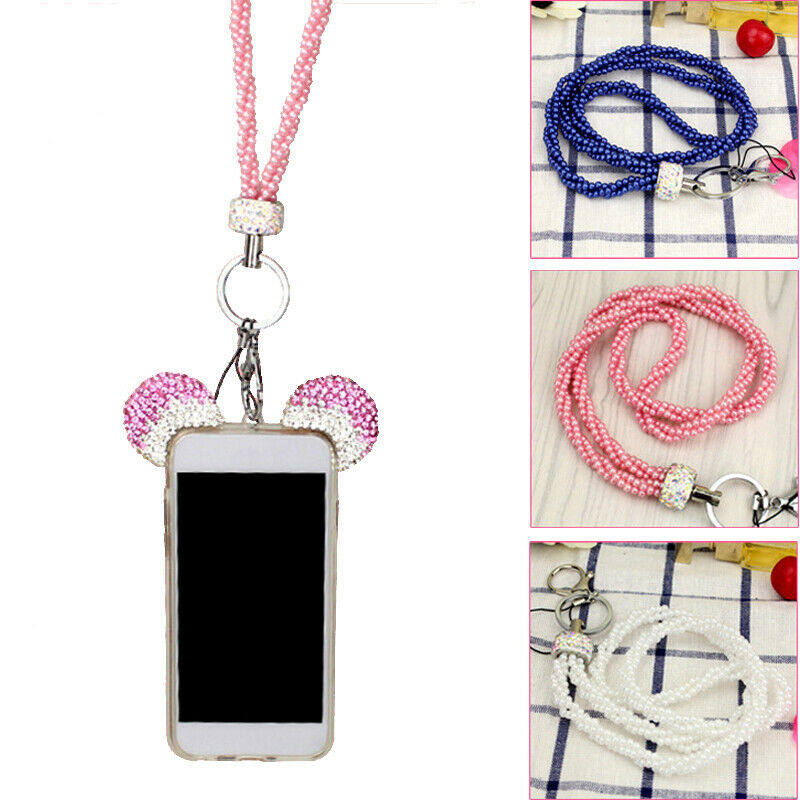 Crystal Mobile Phone Lanyard Beaded Neck Strap Key Ring Chain ID Holder UK