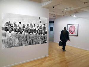 New-York-Vintage-Art-Print-Canvas-Photo-Black-White-Large-Workmen-Lunch