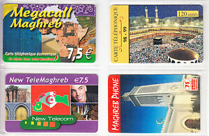 4-TELECARTE-PHONE-CARD-FRANCE-PREPAYEE-AFRIQUE-MAGHREB-MIX-DIFFERENTS-A1