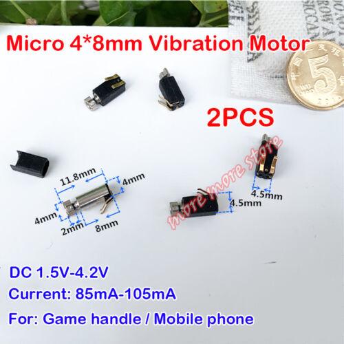 2PCS DC 1.5V 3.7V 4.2V Coreless Vibration Motor Micro 4mm*8mm DIY Mobile Phone