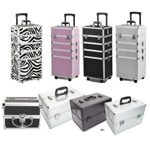 Aluminum 4 in1 Rolling Makeup Trolley Train Case Box Organizer Salon Cosmetic