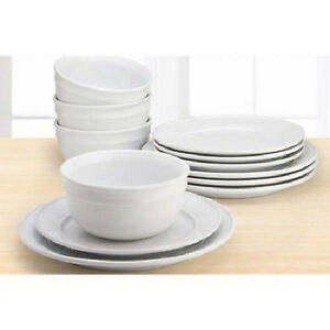 Image is loading 12-Piece-Round-Dinnerware-Set-White-Dishes-Plates-  sc 1 st  eBay & 12 Piece Round Dinnerware Set White Dishes Plates Bowls Stoneware ...
