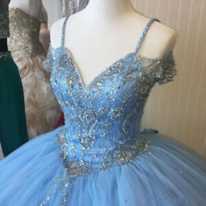 Cinderella Blue Quinceanera Dresses Beaded Puffy Sweet 16 Prom Gown Off Shoulder