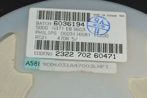 Full reel of 5000 Vishay resistors 0603 CRCW06031002K7 2700 ohm 2k7 1/%