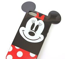 For iPhone SE 5S HARD TPU RUBBER GUMMY SKIN CASE COVER RED BLACK MINNIE MOUSE