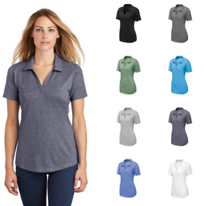 Sport-Tek-Ladies-Tri-Blend-Wicking-Polo-Moisture-Wicking-Comfy-Soft-Top-LST405