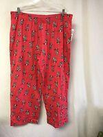 Hue Women's Sleepwear Pajama Bottom Sleep Pant Size 1x Pinkish Red W/ Cats