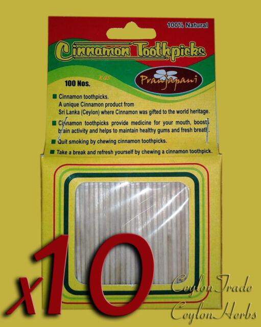 1000 Pcs Ceylon Cinnamon toothpicks Ceylon Zimt Bio-Zahnstocher 10 x 100pcs