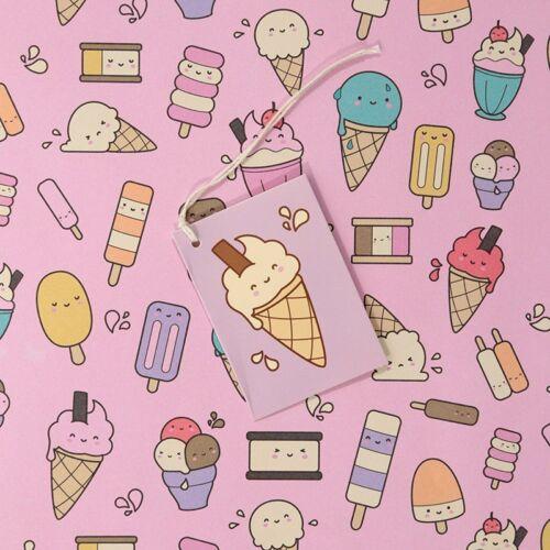 Crème Glacée Lolly cadeau papier cadeau Feuille /& Tag Qualité Femelle Fille Fête Mères