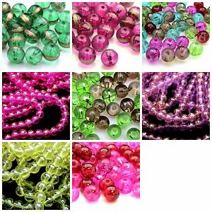 100-Pcs-8mm-Round-Glass-Translucent-Drawbench-Beads-Various-Colour-039-s-ML