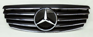 5-Fin-Front-Hood-Sport-Black-Chrome-Grill-Grille-for-Mercedes-E-Class-W211-03-06
