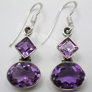 925-Silver-Natural-AMETHYST-Stone-Dangle-Earrings-1-3-Inch