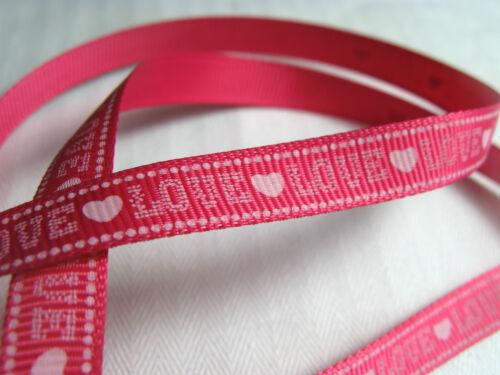 10mm Cinta de Grogrén Corazones Amor Artesanía Costura Scrapbooking día de San Valentín Regalo