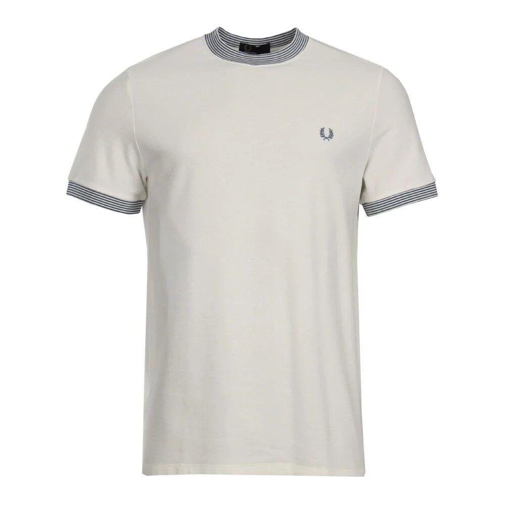 BNWT FROT Perry M3567 Stripe Rib Pique T-Shirt Snow Weiß M   129 Tee