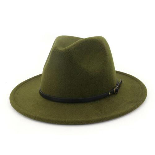 Women/'s Wool Felt Outback Hat Panama Hat Wide Brim Women Belt Buckle Fedora Hats