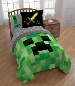Details About Minecraft Builders Boys Full Comforter Sheets Sham W 6 Piece Bed In A Bag