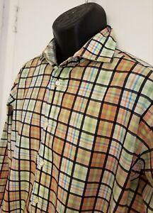 Button-Up-Thomas-Dean-men-039-s-long-sleeve-multi-checkered-shirt-100-cotton-Lrg