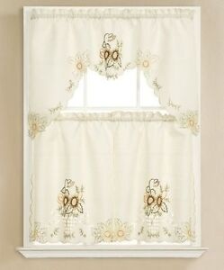 3pc beige with embroidered gold sunflower kitchen/cafe curtain tier and swag set 708812163936 | ebay
